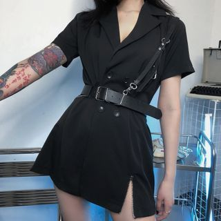 Chisan - Short-Sleeve Double-Breasted Mini A-Line Blazer Dress with Belt