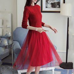KOHIN - Set: Knit Long-Sleeve Top + Mesh Midi A-Line Skirt