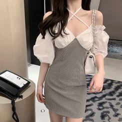 OKMA SHOP - Houndstooth Cold-Shoulder Mini Sheath Dress