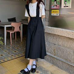 Smiler - 短袖純色T裇 / 中長背帶連衣裙
