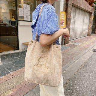 Eastin - 刺绣灯芯绒购物袋