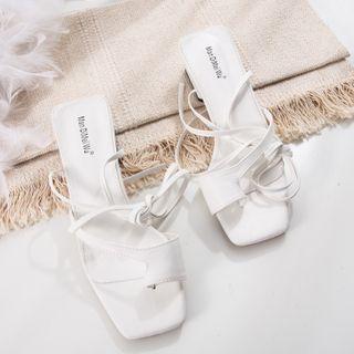 Anran - Square-Toe Chunky-Heel Slide Sandals