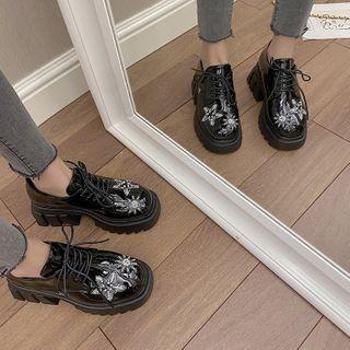 時尚麥樂 - 厚底粗跟繫帶牛津鞋