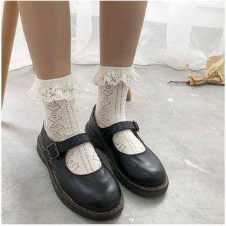 FlorSwallow - Lace-Trim Pointelle Socks