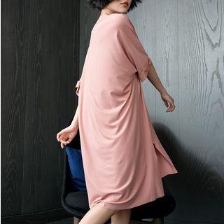 Cinni - V-Neck Elbow-Sleeve Pajama Dress