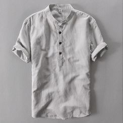 Sheck(シェック) - Short-Sleeve Half Button Shirt