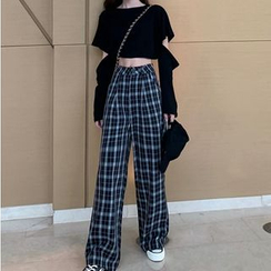 Tonni's - Cut-Out Long-Sleeve Cropped Top / Plaid Wide Leg Pants