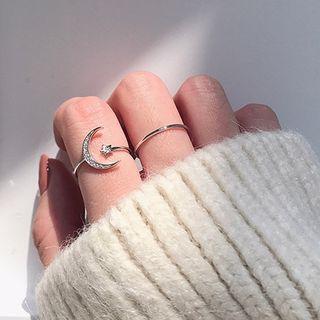 Calypso - Set of 2: Rhinestone Moon & Star Open Ring + Polished Ring