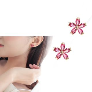 Zirajoy - 925 Sterling CZ Flower Stud Earring