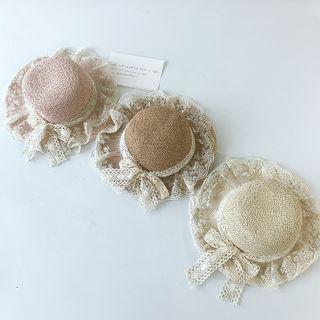 Meridion - 小童蕾絲邊草編帽子