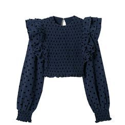 JIN STUDIOS - Long-Sleeve Dotted Blouse