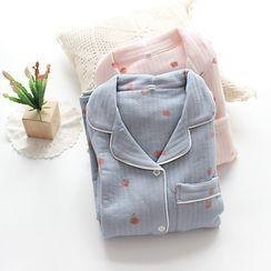 Dogini - Pajama Set: Patterned Shirt + Lounge Pants