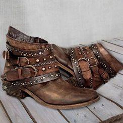 Avanti - Faux Leather Rivet Multi-Strap Ankle Boots