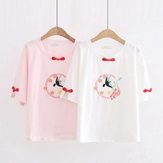 Cat Planet - Short-Sleeve Bird Print T-Shirt