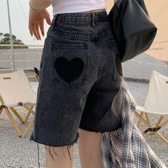 Dute - Heart Patch Frayed Wide Leg Denim Shorts