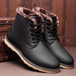 TYCOON(タイクーン) - Faux Leather Fleece-lined Short Boots