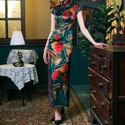 四小姐旗袍 - 花朵印花蓋袖旗袍