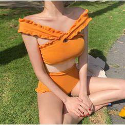 Salanghae - Set: Frilled Trim Bikini Top + High-Waist Bottom