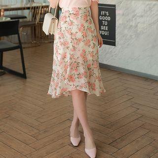 MyFiona - Ruffle-Hem Rosette Midi Wrap Skirt