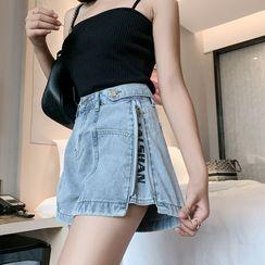 Vanci - Lettering Zip-Accent Denim Wide Leg Shorts