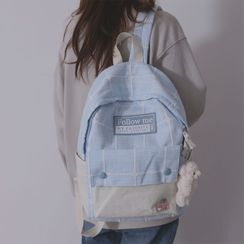 Little Days - Sheep Charm Plaid Canvas Backpack