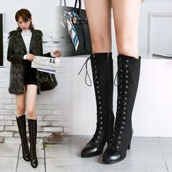 Cinnabelle - Faux Leather Lace-Up Block-Heel Tall Boots