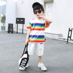 Piggy & Kids - Set: Kids Short-Sleeve Rainbow Striped T-Shirt + Patched Shorts