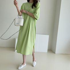 NANING9 - Plain Long T-Shirt Dress