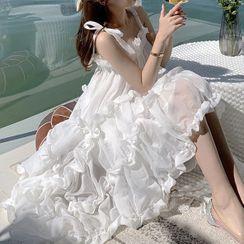Morning Glory - Sleeveless Ruffle Shift Dress