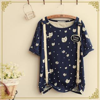 Fairyland - Short-Sleeve Cat Print T-Shirt with Suspender and Brooch