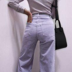 Bulgaris - High-Waist Wide-Leg Corduroy Pants