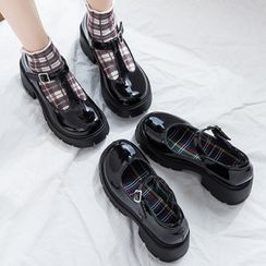 Yuki Yoru(ユキヨル) - Platform Buckled Mary Jane Pumps