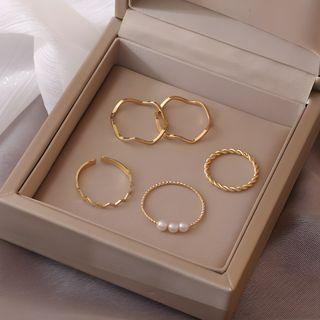 JAMIEL - 仿珍珠圈环戒指