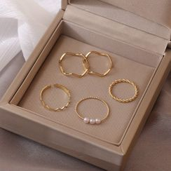 JAMIEL - Set of 5: Gold Rings