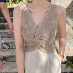 MIKIGA - 纯色露背针织背心