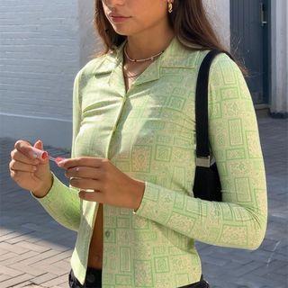 Pront - Long-Sleeve Pattern-Print Crop Button-Up Shirt
