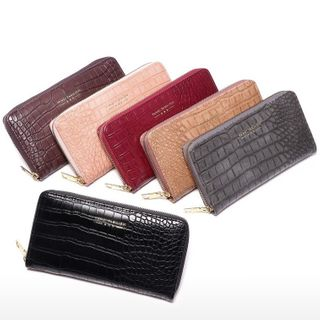tablarosa - Crocodile Grain Faux Leather Wristlet