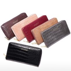 tablarosa - Crocodile Grain Faux Leather Wristlet