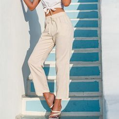 Simplee - Plain Drawstring Cotton Pants