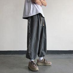 Sartho - Drawstring Waist Printed Sweatpants