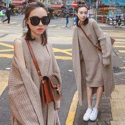 Yonni - 套装: 无袖小高领针织连衣裙 + 开胸针织大衣