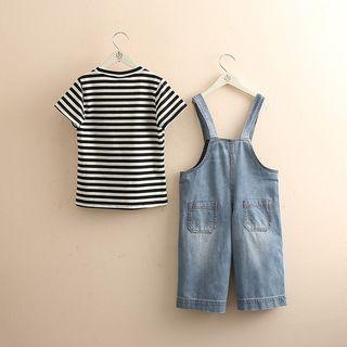 Seashells Kids - Kids Set: Striped Short-Sleeve T-Shirt + Denim Jumper Pants