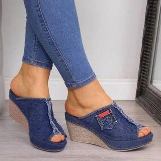 Yoflap - Denim Wedge-Heel Sandals