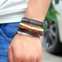 KINNO(キンノ) - Set of 4: Bead & Genuine Leather Bracelets