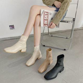 miss baby - Plain Square-Toe Block Heel Short Boots