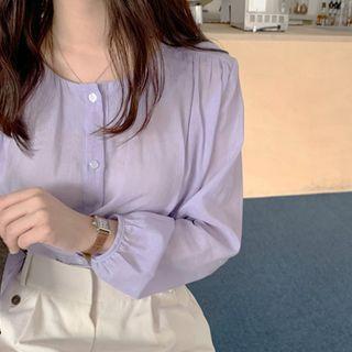 mimi&didi - Round-Neck Shirred Pastel Blouse