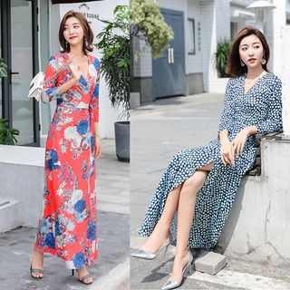 Yuxi - 3/4-Sleeve Printed Maxi Wrap Dress (Various Designs)