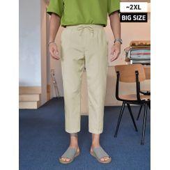 GERIO - Drawstring-Waist Straight-Cut Dress Pants