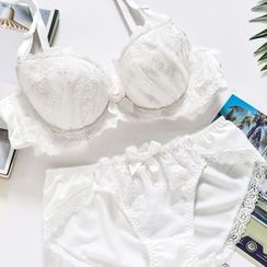 Mimimint - 套裝: 蕾絲邊文胸 + 內褲
