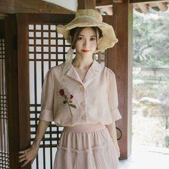 Whisperwind - 玫瑰刺绣短袖衬衫